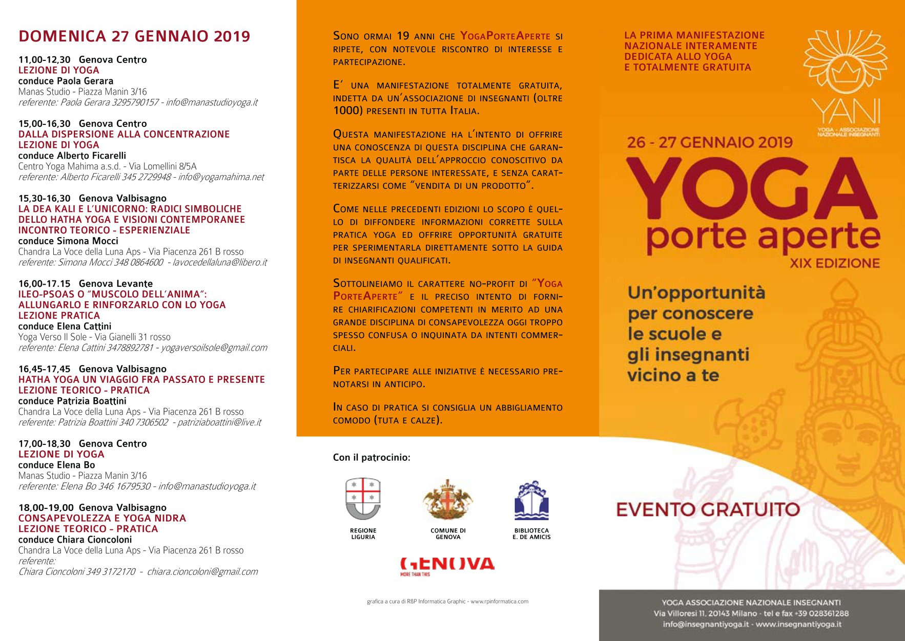 YOGA Porte Aperte XIX EDIZIONE    Genova 26-27 Gennaio 2019